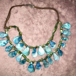 Jewelry - Leather Roped Green/Aqua Scale Necklace